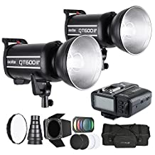 Andoer Studio Light Photography Kit with 2 * Godox 600W Strobe Flash + Wireless Trigger Transmitter + Softbox + 2 * Diffuser Plate + 2 * Lampshade Honeycomb + Carrying Bag for Canon DSLR Cameras