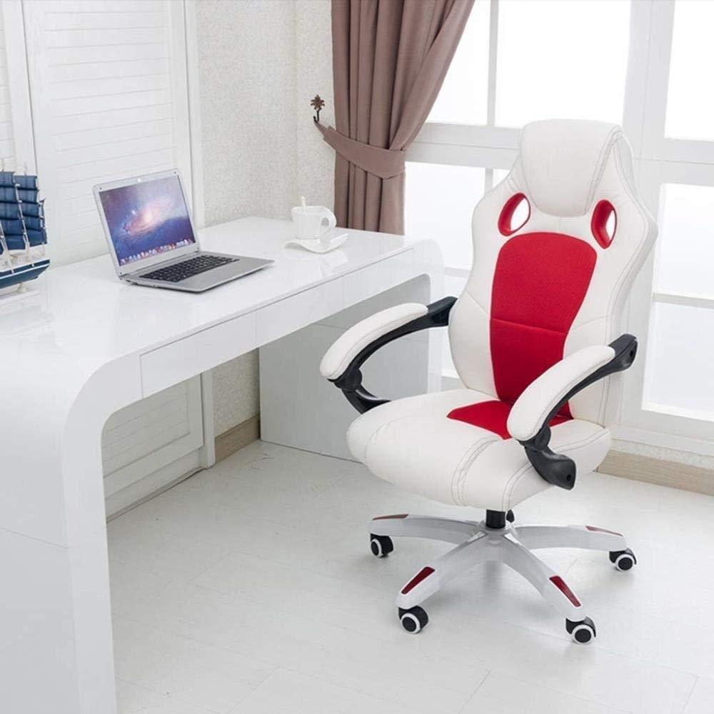 Xiuyun Hög rygg kontorsstol justerbar ergonomisk skrivbordsstol med vadderade armstöd, verkställande PU-läder svängbar uppgift stol med ländrygg stöd (färg: vit) Vitt
