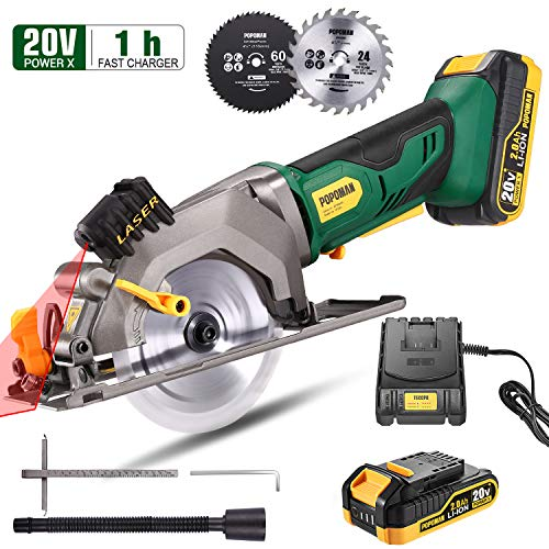 "Circular Saw Cordless, POPOMAN Mini Saw 20V, 2.0Ah Battery, 1H Fast Charger, 9.5"" Base Plate, Laser Guide, Max Cutting Depth 1-11/16"" (90°), 1-3/8"" (0°-45°), Wood Plastic Soft-metal Cuts"