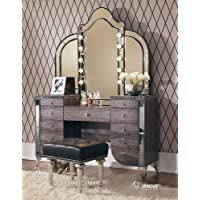 Aico Hollywood Swank Vanity with Bench Set 3 Piece in Amazing Gator by Michael Amini