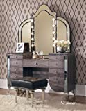 Hollywood Vanity Set Aico Hollywood Swank Vanity with Bench Set 3 Piece in Amazing Gator by Michael Amini