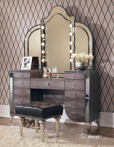 Aico Hollywood Swank Vanity with Bench Set 3 Piece in Amazing Gator by Michael Amini (Hollywood Glamour Furniture Bedroom Sets)
