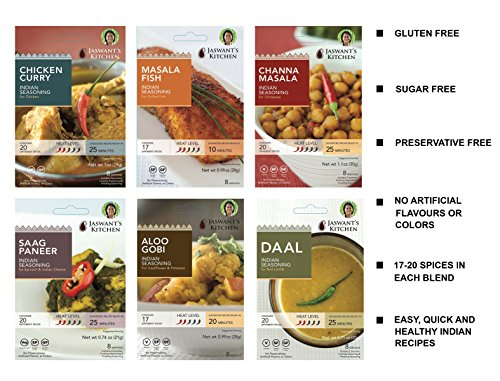 Jaswant's Kitchen Indian Spice Blends with Recipes - 6 Pack (Chicken Curry/Daal/Aloo Gobi/Channa Masala/ Fish/Saag Paneer)