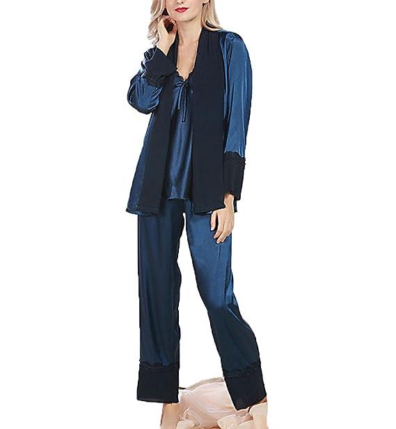 Primavera Seda Sexy Pantalones De Manga Larga Pijama De Tres Piezas,Blue-