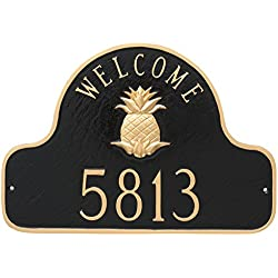 "Montague Metal Pineapple Welcome Arch Address Sign Plaque, 11"" x 16"", Black/Gold"