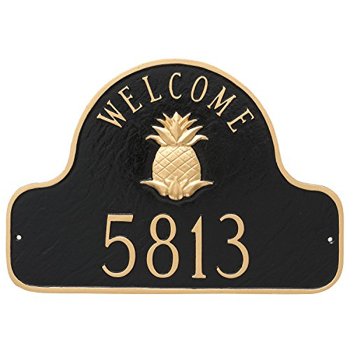 Welcome Arch - Montague Metal Pineapple Welcome Arch Address Sign Plaque, 11