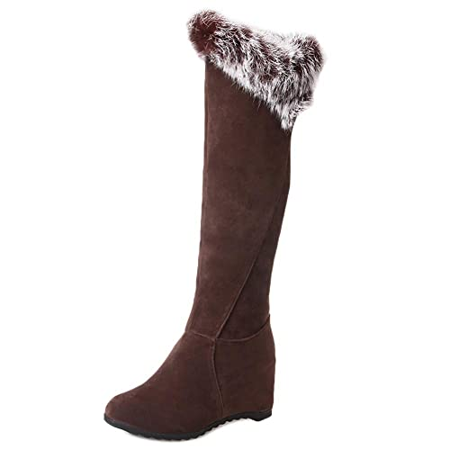 RAZAMAZA Mujer Tacón de Cuña Botas de Rodilla sin Cordones  Amazon.es   Zapatos y complementos ab52d9c74a7e6