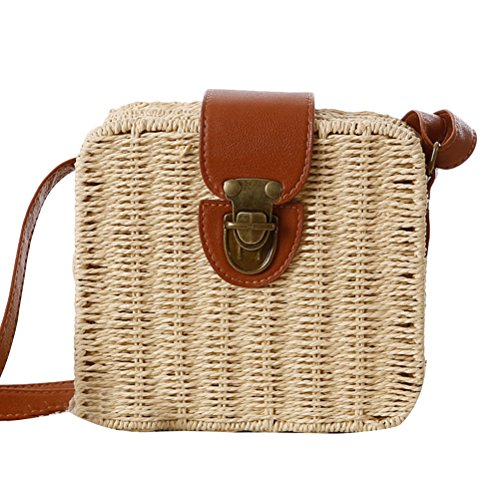 Zhhlaixing Casual Korean Style Messy Woven Bag Small Square Box Simple Beach Bags Candy Color Bolsa hermosa especial for Women Beige