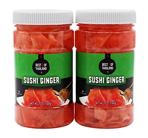 Pickled Sushi Ginger - 2 Jars of 12-oz - Japanese Pickled Gari Sushi Ginger Kosher - By Best of Thailand by Best of Thailand