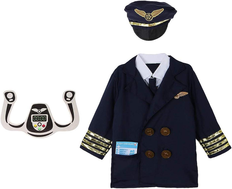 Hellery Traje de Piloto de Aerolínea Set con Camisa, Gorro y Yugo de Dirección - Azul oscuro, Única: Amazon.es: Ropa y accesorios