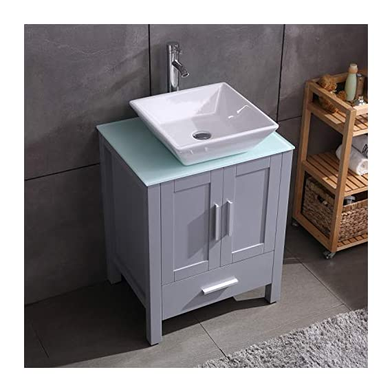 """24"""" Grey Bathroom Vanity Cabinet and Sink Combo Glass Top MDF Wood w/Sink Faucet &Drain Set - Environmental-friendly MDF wood material cabinet with oil paint on it, durable, stable and water-proof. Main cabinet size: 19*24*30 inch (L×W× H) . Sink size: 16.5 in*5.5(L×W× H), Sink thickness:0.5 inch. Faucet height:12 inch 1.5 GPM faucet help you save much water, prevent water splashing. - bathroom-vanities, bathroom-fixtures-hardware, bathroom - 515Lzvew 1L. SS570  -"""