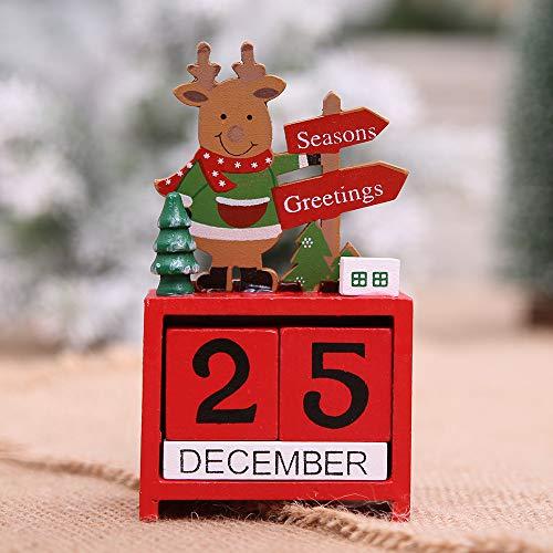 Price comparison product image Christmas Mini Desk Calendar Ornament Wooden Calendar Home Table Desk Ornament Craft Gift for Kids Friends (Multicolor)