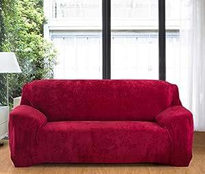 Aisaving Funda de sofá Gruesa de Terciopelo 1 2 3 4 plazas Funda de sofá elástica Antideslizante para Silla de Paseo o sofá, Rojo, 2 ...