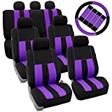 FH Group FH-FB036217 + FH2033 Three Row Combo Set: Striking Striped Seat Covers Purple/Black Color- Fit Most Car, Truck, SUV, or Van