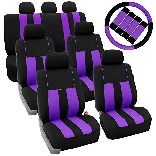 (FH Group FH-FB036217 + FH2033 Three Row Combo Set: Striking Striped Seat Covers Purple/Black Color- Fit Most Car, Truck, SUV, or Van)