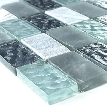 Marmor Glas Naturstein Mosaik Fliesen Grau Türkis: Amazon.de: Baumarkt