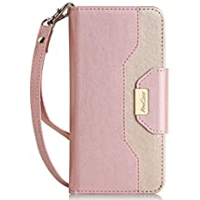 ProCase iPhone 8 Plus/7 Plus Wallet Case, Flip Fold Card Case Stylish Slim Stand Cover with Wallet Case for Apple iPhone 8 Plus/iPhone 7 Plus -Pink