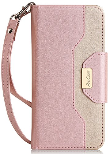 ProCase iPhone 8 Plus / 7 Plus Wallet Case, Flip Fold Card Case Stylish Slim Stand Cover with Wallet Case for Apple iPhone 8 Plus/iPhone 7 Plus -Pink