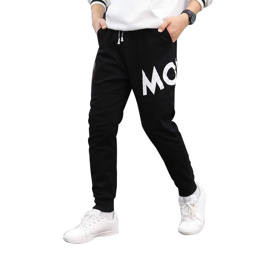 childdkivy Kids Big Boys Casual Pants Active Outwear Bottoms Black 160 812D by childdkivy