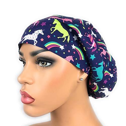 Euro Surgical Scrub Hats Women's Unicorns and Rainbows Adjustable Bouffant Cap Ponytail by DK Scrub Hats