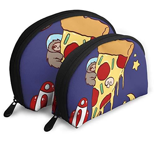 (MFILM FVAFN Space Pizza Cat Makeup Storage Bag, Portable Half Moon Makeup Bags Pouch for Women)