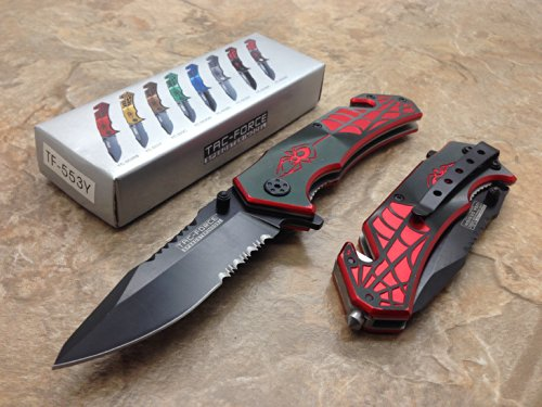 Blade Spider - TAC Force Assisted Opening Spider WEB Design Handle Rescue Tactical Black Stainless Steel Blade for Hunting Camping Outdoor - Black/red
