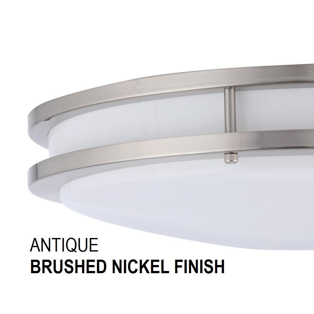 smartled 16 inch led flush mount ceiling light fixture antique brushed nickel 793573451279 ebay. Black Bedroom Furniture Sets. Home Design Ideas