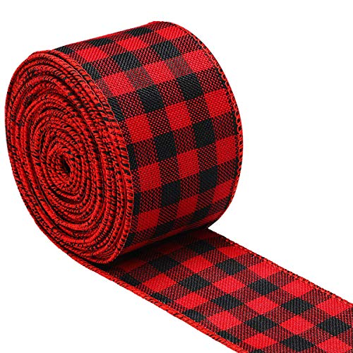 WAVEYU Buffalo Plaid Ribbon for Christmas, Wired Edge Ribbon Check Burlap Ribbon for Gift Wrapping, Crafts Decoration Design for Floral, Craft, Holiday Decoration (2 by 236 Inches), Red and Black