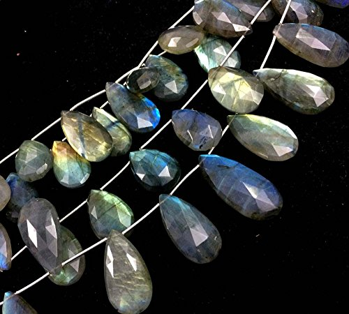 - AAA LABRADORITE FACETED PEAR SHAPE BRIOLETTES BEADS, LABRADORITE STONE 17-19MM