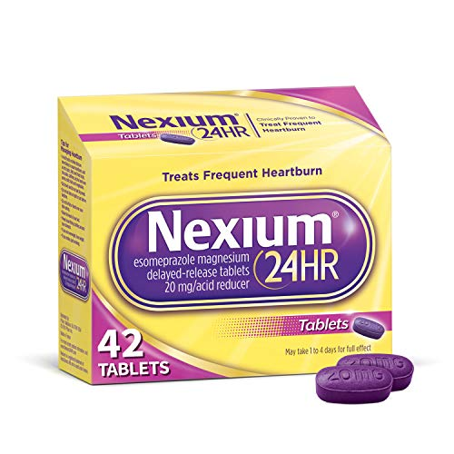 Nexium 24HR (42 Count, Tablets) All-Day, All-Night Protection from Frequent Heartburn Medicine with Esomeprazole Magnesium 20mg Acid Reducer]()