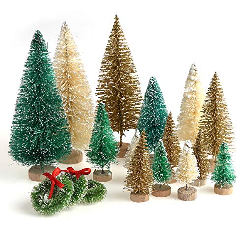 30 Pieces Miniature Sisal Frosted Christmas Trees Bottle Brush Mini Trees Plastic Tabletop Trees Ornaments for Christmas Room Decor Home Table Top Decoration and Crafts (Trees Decor)