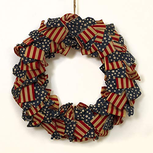 (One Holiday Way 20 Inch Patriotic Fabric American Flag Front Door Wreath - 4th of July)