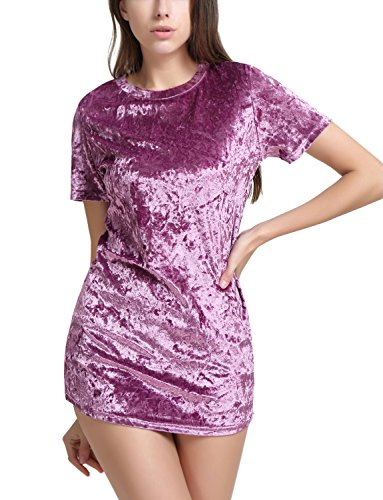 Perfashion Women's Velour T-Shirt Dress Short Sleeve (Dress Burgandy Velvet)