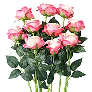 Luyue Artificial Silk Rose Flower Bouquet Wedding Party Home Decor, Pack of 10 (Style 1-Pink Edge)