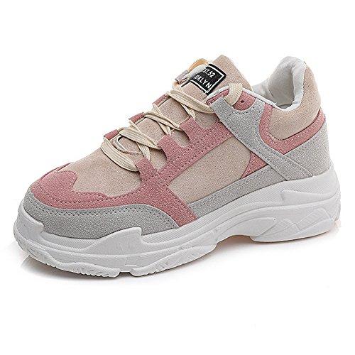 Cybling Sportschoenen Voor Dames Student Outdoor Veterschoen Dikke Zool Plateau Atletische Comfort Sneaker Roze