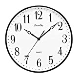 DreamSky 13 1/2 Inch Extra Large Wall clock , Non - Ticking & Silent Decorative Indoor/Outdoor Kitchen Living Room Round Retro Clock , AA Battery Operated , Big Number Display .