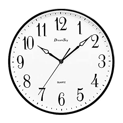 DreamSky 13.5 Inches Extra Large Wall Clock, Non-Ticking Silent Decorative Indoor Kitchen Living Room Round Retro Clock, AA Battery Operated Clocks. - Extra Large 13 1/2 inches basic quartz analog wall clock, quiet smooth continuous-sweep second hand movement ensure a good sleeping and work environment. Perfect clock for home, office, library, nursey and classroom - any place accurate timekeeping is needed. Big and vintage Arabic numerals indicate at every hour and minute tracker make it easy to see from any corner of your room. Simple yet elegant design boasts a satin finish that is well suited for virtually any room decor. High standard mechanism used to track time more precision. - wall-clocks, living-room-decor, living-room - 515M0mzR1tL. SS400  -