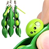 GreatestPAK Cute Squishies Green Fidget Bean Toys Stress Relief Squeeze Improve Focus Toy Birthday Gift Keychain For Boys Girls