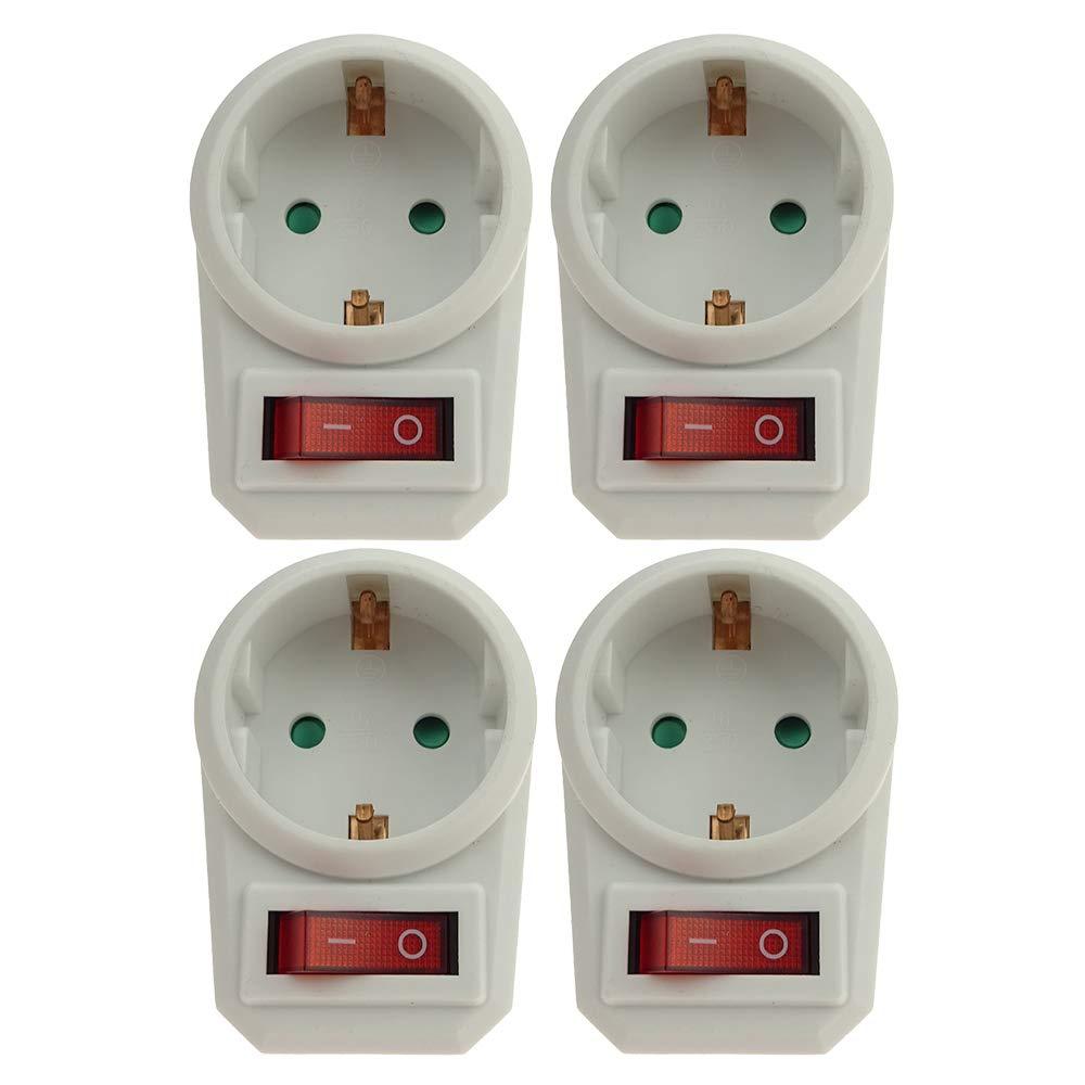 Enchufe intermedio con interruptor ahorra energ/ía y protege el medio ambiente Blanco