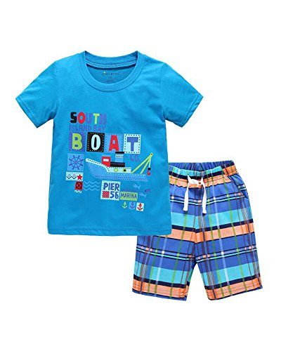 Yilaku Little Boys Clothing Set 2pcs T-Shirt and Shorts Kids Clothes Cartoon Summer 2-7 years (3-4 years, Blue)