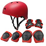 Kids Sports Knees Elbows Wrists Head Support Protection Helmet Set for Unisex Children Toddler Extreme Sports Youth Roller Bicycle BMX Bike Skateboard Protector Guards Pads -7 Pcs (Red)