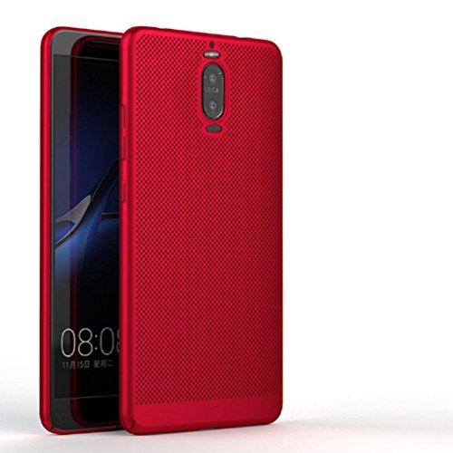 Funda Huawei Mate9 Pro,Alta Calidad Ultra Slim Anti-Rasguño y Resistente Huellas Dactilares Totalmente Protectora Caso de Plástico Duro Case,Cuadrícula Disipación de calor Antideslizante Cover(YQ2-4) E