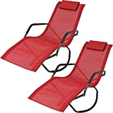 Cheap Sunnydaze Rocking Chaise Lounge Chair with Headrest Pillow, Outdoor Folding Patio Lounger, Red, Set of 2