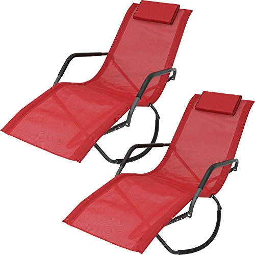 Sunnydaze Rocking Chaise Lounge Chair with Headrest Pillow, Outdoor Folding Patio Lounger, Red, Set of - Lounger Sling Chaise