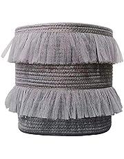 ILOVA Beautiful Lace Storage Basket Grey Set of 2 Toy Storage Decorative Cotton Rope Basket Baby Toy Basket Nursery Storage (Grey)