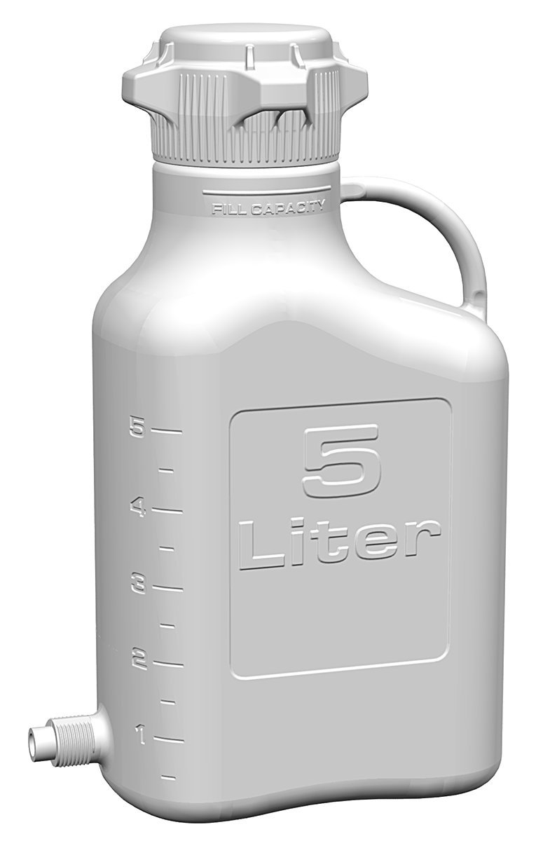 EZgrip 5L (1 Gal) Autoclavable Polypropylene Space Saving Carboy with Leakproof Spigot, 83mm (83B) VersaCap and 6.9L Max Capacity