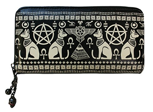Lost Queen Anubis Egyptian Sphynx Cat Pyramid Pentagram Vegan Black Wallet -