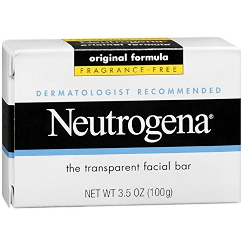 Neutrogena Original Fragrance-Free Facial Cleansing Bar with Glycerin, Pure & Transparent Gentle Face Wash Bar Soap, Free of Harsh Detergents, Dyes & Hardeners, 3.5 oz ( Pack of 6)