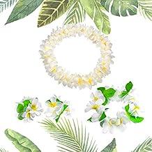 Hawaiian Headpiece,Hawaiian Flower Leis Jumbo Necklace Bracelets Headband Set  for Luau Party Decoration Supplies for Hawaiian Luau Party by LovesTown