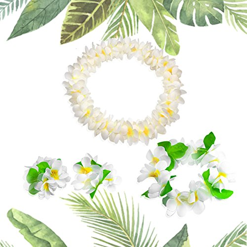 Hawaiian Headpiece,Hawaiian Flower Leis Jumbo Necklace Bracelets Headband Set  for Luau Party Decoration Supplies for Hawaiian Luau Party by -